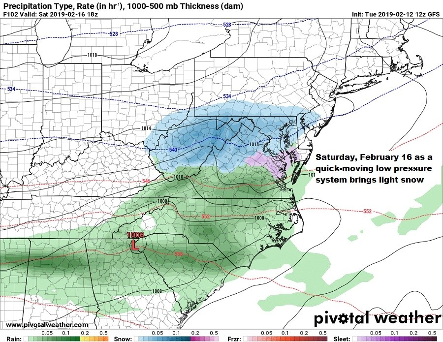 The first of two potential weekend storms in the mid-Atlantic Saturday. (Pivotal Weather)