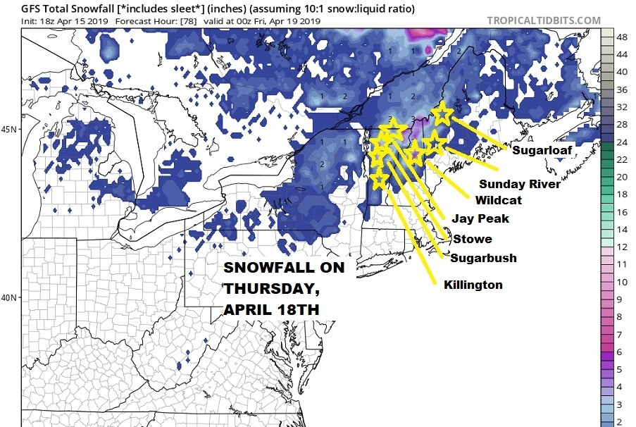 New snow Thursday, April 18. ( Pivotal Weather)